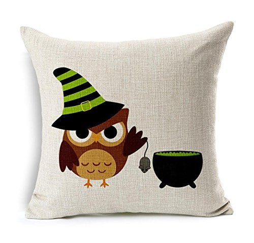 ME-COO-Necromancer-hat-OWL-Halloween-cat-pumpkin-spider-graphic-printing-hug-pillowcase-living-room-room-car-decorative-cushion-covers-pillow-covers-18-x-18Inches-1pcs