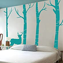 MairGwall Nature Decor Deer Vinyl Birch Tree Wall Decal Nursery Room Wall Vinyl Bedroom Art Graphics (Large, Teal)
