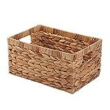 Kingwillow, Storage container, Natural water hyacinth Storage Bins Rectangular Basket , Organizer Box, Metal frame ,Art & Craft (Small, TypeP)