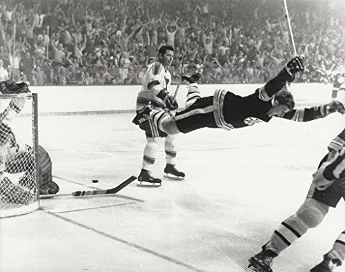 "NHL Collectibles Hockey Boston Bruins Bobby Orr Famous Goal Victory after scoring The Goal in the 1970 Stanley Cup Final - 8""x10"" Photo"