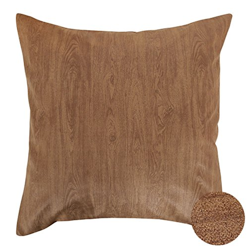 Embossed Grain (Deconovo Throw Pillow Case Faux Suede Embossed Pillow Sham Home Decorative Wood Grain Pattern Hand Made Pillow Case Cushion Cover For Sofa 18x18 Inch Brown)