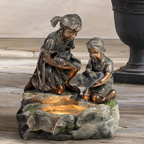 "John Timberland Girl and Boy with Lily Pad Outdoor Floor Water Fountain with Light 23 1/2"" High Cascading for Yard Garden Patio Deck Home"