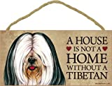 (SJT63970) A house is not a home without a Tibetan (Terrier, white and black) wood sign plaque 5