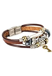 Fashion Plaza Leather Bracelet with Key Design