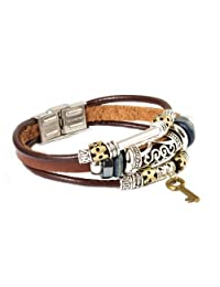 FASHION PLAZA Key Design Leather Zen Bracelet for Men, Women, Teens, Boys and Girls -19cm- L7
