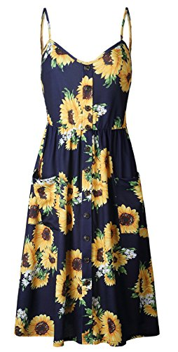 ETCYY Women's Halter Backless Floral Button Casual Summer Midi Dress With Pockets Button Front Dress