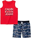 Calvin Klein Baby Boys' 2 Pieces Muscle Shorts Set, Red/Navy, 12M
