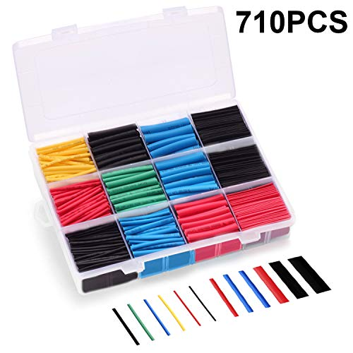 (Young4us Heat Shrink Tubing, 710 Pcs Tubes in 11 Sizes 5 Colors with Shrink Ratio 2:1 & 0.15 ft Length (Pack of 710, Black, Red, Blue, Green & Yollow))