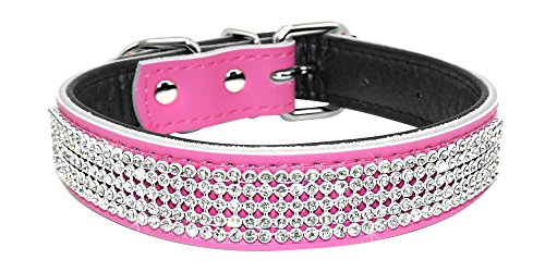 Beirui Dog Collar with Rhinestones - Soft Bling Genuine Padded Leather Made Sparkly Crystal Diamonds Studded -Perfect for Pet Show & Daily Walking (L 14-18