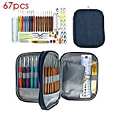 Leegoal Ergonomic Crochet Hooks Set, 67 PCS Premium All-in-One Soft Handle Aluminum Crochet Hook, Knitting Needle Kit DIY Accessories Set with Canvas Bag, Comfortable Grips for Arthritic Hands