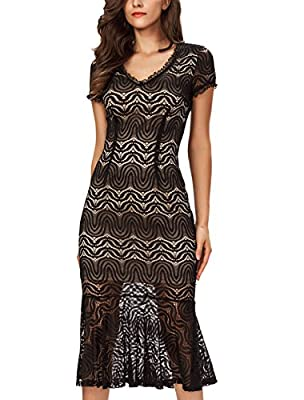 Noctflos Women 1920s Lace Bodycon Midi Fishtail Gatsby Party Dress