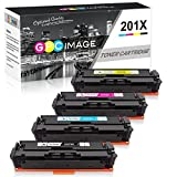 GPC Image Compatible Toner Cartridge Replacement for HP 201X 201A HP CF400X CF401X CF402X CF403X CF400A to use with Color Laserjet Pro MFP M277dw M252dw M277n M252n MFP M277c6 Printers Ink (4-Pack)