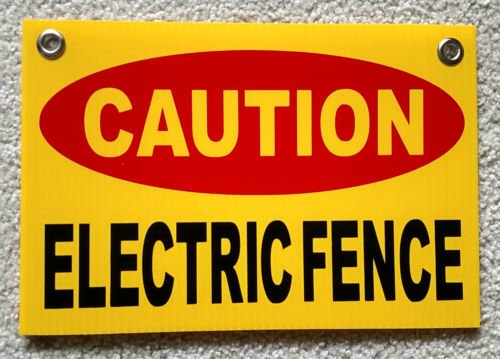VINBOX CAUTION ELECTRIC FENCE Plastic Coroplast Sign 8'',X12'', w/Grommets y from VINBOX