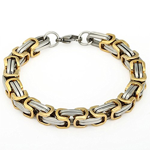 Trendsmax 8mm Mens Chian Byzantine Box Stainless Steel Bracelet Gold Silver Tone 7-11inch