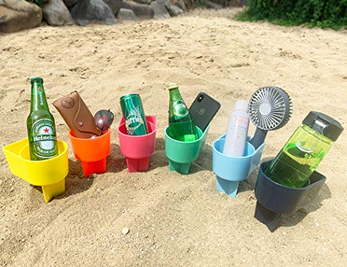 (Home Queen Beach Cup Holder with Pocket, Multifunctional Sand Cup Holder for Beverage Phone Sunglass Key, Beach Accessory Drink Sand Coaster, Set of 6 (Navy, Teal, Yellow, Orange, Blue and Pink))