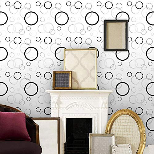 LIFAVOVY Removable Wallpaper Stick and Peel Self Adhesive Shelf Liner Black Gray Circle Waterproof Contact Paper Decorative 17.7