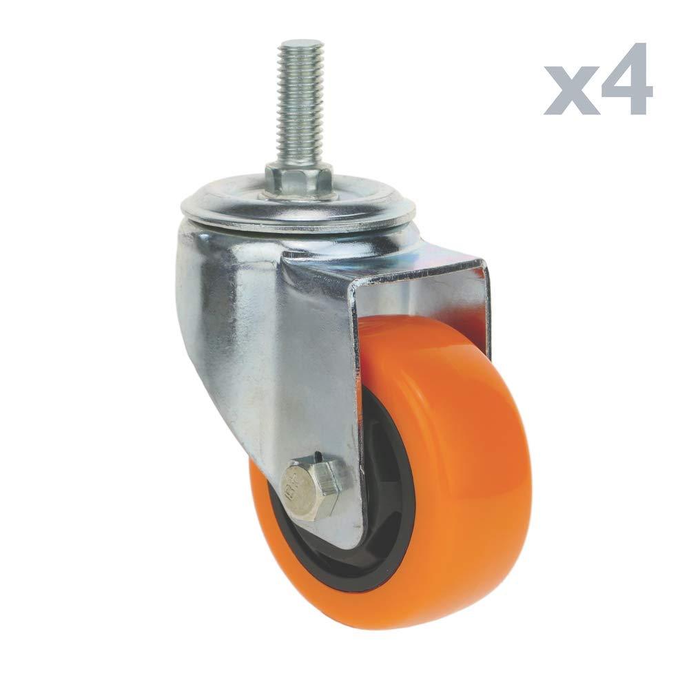 PrimeMatik Rueda pivotante Industrial de Poliuretano sin Freno 75 mm M12 4-Pack