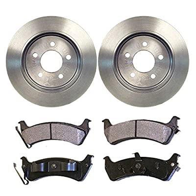 Auto Shack RSMK64034-64034-667-2-4 4 Rear Semi Metallic Brake Pads and 2 Brake Rotors: Automotive