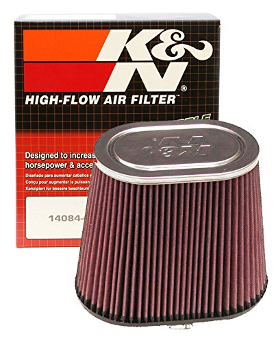 K&N RF-1040 Universal Clamp-On Air Filter: Oval Straight; 4 in (102 mm) Flange ID; 7.5 in (191 mm) Height; 9 in x 5.75 in (229 mm x 146 mm) Base; 7 in x 4.5 in (178 mm x 114 mm) Top