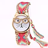 Cat Wrist Watch, Winhurn Women Knitted Weaved Rope Band Bracelet Dial Quartz Watch (H)