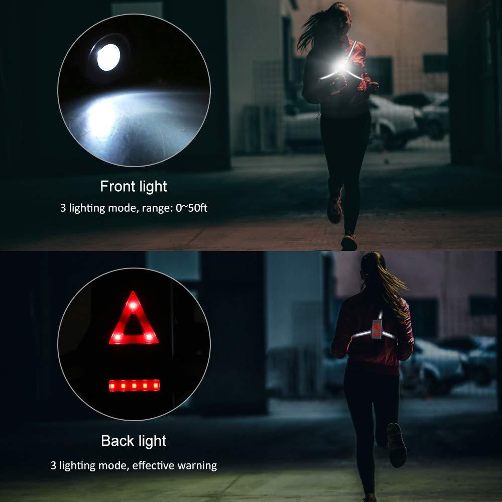 380 Lumens Super Lumineux Lampe de Poche Lampe Eclairage de Poitrine pour Course Nocturne//Cyclisme//Marche//Randonn/ée//P/êche Lixada Lampe de Course 3 Modes d/éclairage Gilets de S/écurit/é