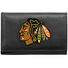 NHL Chicago Blackhawks Embroidered Genuine Leather Trifold Wallet