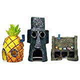 Our products fully simulate the shape of spongebob squarepants pineapple house, octopus house and krusty krab. You can create your own fantasy aquarium world with this fish tank decorations set and some water plants and driftwood. SPECIFICATION Packa...