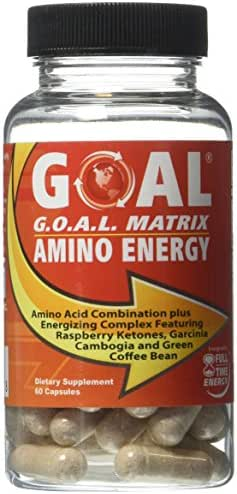 GOAL - G.O.A.L. MATRIX AMINO ENERGY Pills 60 Capsules - Amino Acids Complex Combination with Energy Booster Formula That Works Fast Best Fat Burner Weight Loss Supplement Diet Pills for Men and Women