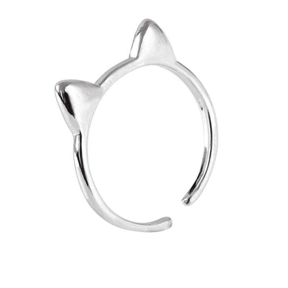 WeiMay Gioielli anello da donna Gioielli Argento Donna Elegant Anello aperto A forma di orecchio di gatto Gioielli per le Ragazze Impegno di nozze Anelli di barretta Accessori Regalo di compleanno
