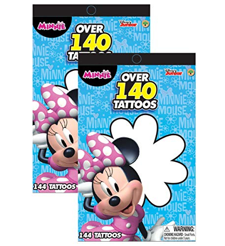 Disney Junior Minnie Mouse Bowtique Over 140 Temporary Tattoos Booklets - Easy to Apply and Remove, Smudge Proof, Cute Assorted Designs - Party Favors and Handouts (2pc Set) -