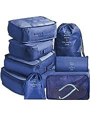 Koffer Organizer Set 8-teilig Packing Cubes Packtaschen Set & Gepäck Organizer für Rucksack & Koffer Aufbewahrungstasche Packwürfel Packtaschen Set