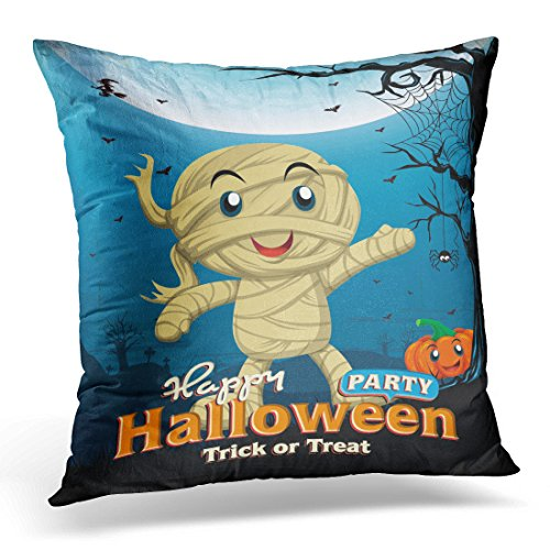 Sdamase Throw Pillow Cover Party Vintage Halloween Design with Kid in Mummy Costume Spider Decorative Pillow Case Home Decor Square 18