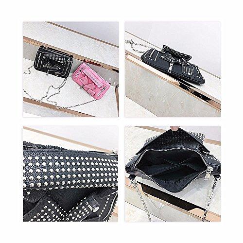 Ya Satchel Bag Rivet Leather Jacket Jin Handbag Women's Black PU Crossbody Shouldbag Motorcycle vaw1rxvAPn