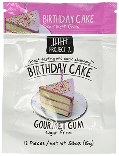 Project 7 Gourmet Gum, Birthday Cake, 0.53 oz (Pack of 1) by Project - Cake Project Birthday 7