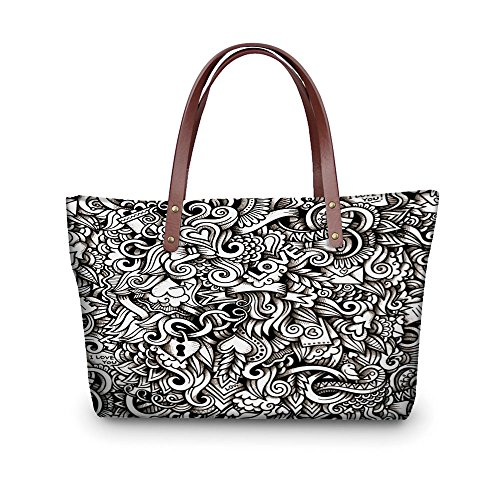 iPrint Design the fashion for you Waterproof Women Casual Handbag Tote Bags,Romantic,I Love You Themed Winged Hearts Locks Partners Valentines Ribbons Illustration,Black White. (Heart Winged Handbag)