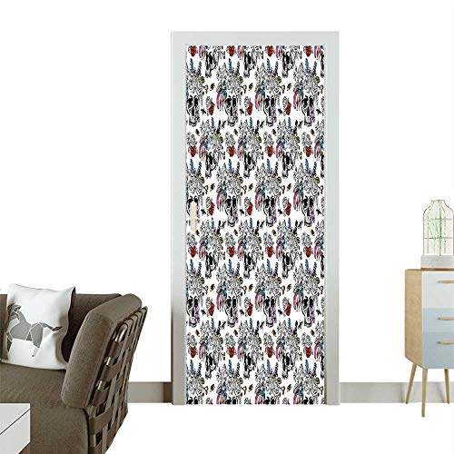 3D Photo Door Murals Dead Sugar Skull Flowers V Tage Rose Bouquet Be Multicolor Easy to Clean and applyW32 x H80 INCH