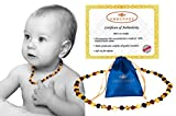 Baltic Amber Baby Teething Necklaces (Unisex) Anti Flammatory, Drooling & Teething Pain Reduce Properties, Certificated Baroque Beads ( Multi ),Quality Guaranteed