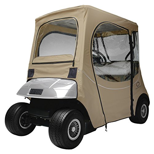 (Classic Accessories Fairway Golf Cart FadeSafe Enclosure For E-Z-Go, Short Roof, Khaki)