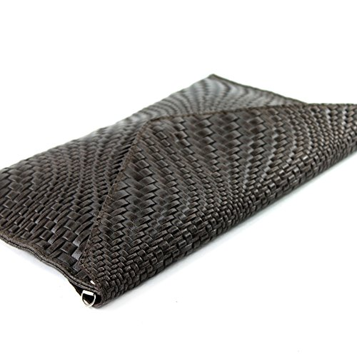 Clutch bag Handbag Dark bag Braid Wrist bag underarm Brown ital Modamoda Evening bag Leather pattern de T106F RIgqYI