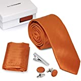 Bundle Monster 4pc Matching Design Pattern Mens Suit Fashion Accessories Set - Sleek Orange