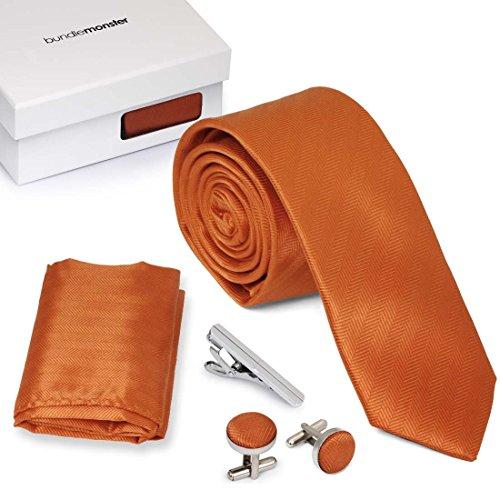 Bundle Monster 4pc Matching Design Pattern Mens Suit Fashion Accessories Set - Sleek (Orange Pattern Tie)