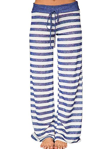 09d078271f Famulily Women s Comfy Light Weight Loose Striped Palazzo Pj Lounge Pants (S