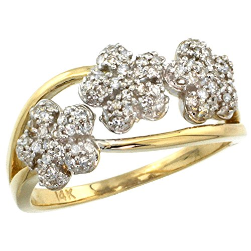 - 14k Yellow Gold Triple Flower Diamond Ring 0.50 cttw, 3/8 inch wide, size 10