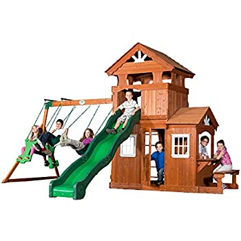 Amazon Com Backyard Discovery Woodland All Cedar Wood Playset Swing