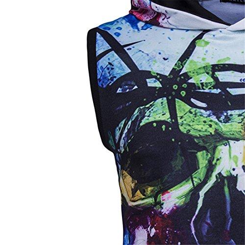 Manicotto Uomini Maglione Stampa Qianabbigliamento Con Zq Giubbotto Testina qxgli Cappuccio Color Di Del Map D'inverno 3d FWRWzwgqT