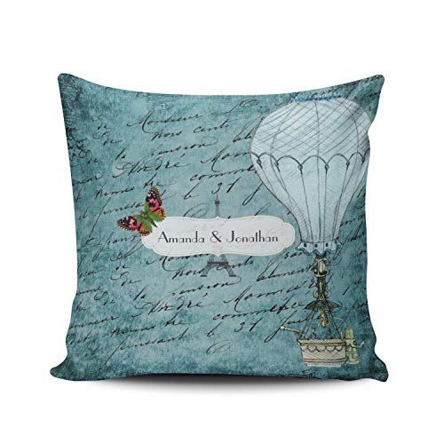 Commemorative Cover - ONGING Decorative Throw Pillow Case Blue Vintage Paris Wedding Personalized Commemorative Pillowcase Cushion Cover Double Sided Design Printed Square Size 16 x 16 Inch