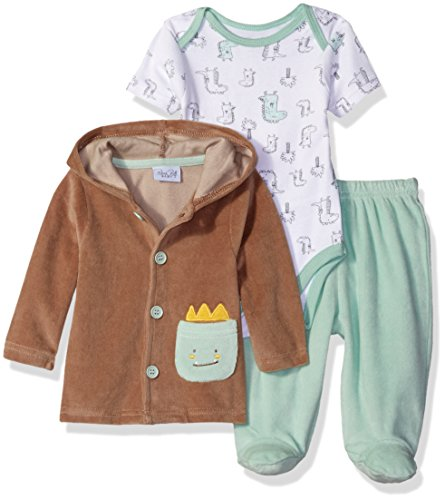 Rene Rofe Baby Baby Boys' 3 Piece Velour Jacket and Pant Set with Lap Shoulder Bodysuit, Dino Green, 3-6 Months (Green Velour Pants)