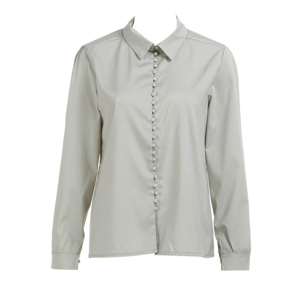 Kingfansion Women Lapel Shirt Casual Solid Long Sleeves Button up Blouse