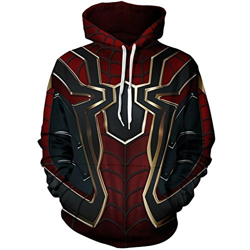 Riekinc Superhero Halloween Cosplay Costume Mens Hoodie Jacket Red and Black