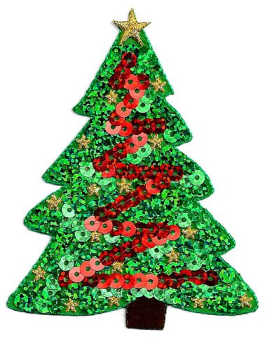 (Christmas Tree - Green &, Red Sequins Iron On Applique Patch - 3 7/8'',H (9.9cm) by)